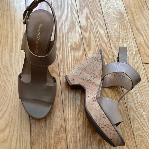 4532d78f1 Franco Sarto Shoes - Franco Sarto nude cork wedge platform sandals.